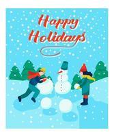kerstkaart. kinderen maken een sneeuwpop. belettering fijne feestdagen. vector illustratie. spandoek, poster, sjabloon.