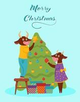 kerstkaart. stieren versieren de kerstboom. belettering vrolijk kerstfeest. vector illustratie. spandoek, poster, sjabloon.