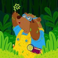 schattige beer botanicus in glazen, onderzoekt nieuwe planten. grizzly tuinieren. dier in het bos. vector kinderen illustratie voor kinderboeken en kinderkamer poster.