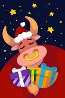 stier in een kerstmuts en een rode trui met geschenken tegen de achtergrond van de sterrenhemel. jaar van de os. blije koe. nieuwjaar en vrolijke kerst illustratie. Chinees dierenriemsymbool van het jaar 2021. vector