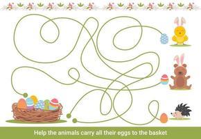 pasen doolhof voor kinderen. voorschoolse kerstactiviteit. lente puzzelspel met schattige dieren. vector