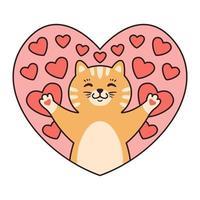 kat in harten. wenskaarten voor Valentijnsdag, verjaardag, moederdag. cartoon dier karakter vectorillustratie geïsoleerd op een witte achtergrond. doodle cartoon stijl. vector