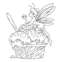 mooie fee ligt op bolletjes ijs. overzicht zwart-wit kunst. food art, zomers verfrissend concept, traditionele seizoensgebonden koude zoetigheden. kleurplaat. sprookjesachtige vectorillustratie. vector