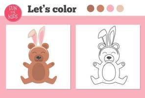 kleurboek voor kleuters met beer en eenvoudig educatief spelniveau. vector