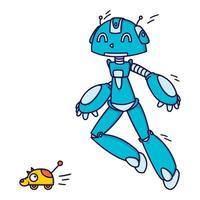 blauwe robot spelen inhalen met een stuk speelgoed. vectorillustratie geïsoleerd op een witte achtergrond. vector