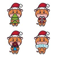 jaar van de os. gelukkige koeien ingesteld. schattige stieren met een sparrenboom, cadeau, kerststerbloem, teken. nieuwjaar en vrolijke kerstkaart. vector illustratie. Chinees dierenriemsymbool van het jaar 2021.