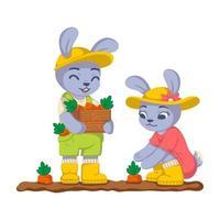 konijnen oogsten wortels in de tuin. bunny werk in de kailyard. landbouw, tuinieren. vector kinderen illustratie geïsoleerd op een witte achtergrond.
