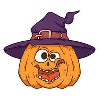 halloween lachende pompoen met heksenhoed. vector