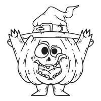 halloween lachende pompoen met handen, benen en heksenhoed. vector