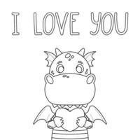 schattige draak met hart en hand getrokken belettering citaat - ik hou van je. Valentijnsdag wenskaart. vectorillustratie geïsoleerd op een witte achtergrond voor kleurplaat. vector