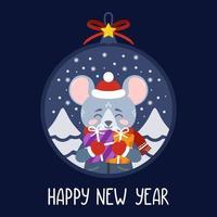 kerstbal met de afbeelding van een rat met geschenken. vector