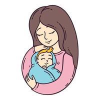 moeder en haar baby.