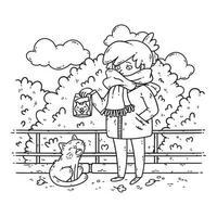 een jonge vrouw is van plan een zwerfkat te voeren. vector