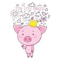 mijn kleine prinses. schattig varkentje in kroon. vector