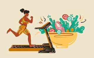 cardiotraining en regelmatige maaltijden, gezonde eiwitten, vetten en verse groenten. meisje op een loopband. gezonde levensstijl en voeding concept vector