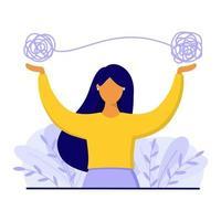 vrouw met verwarde draad erboven. geestelijke gezondheidsproblemen concept.