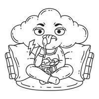 gefrustreerd, slecht humeur persoon eet ijs. vector
