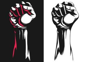 silhouet opgeheven rist hand gebalde protest illustratie tekening vector