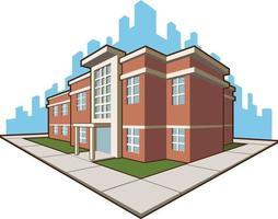 schoolgebouw college academie onderwijs cartoon vectorillustratie vector