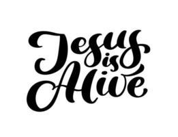 hand getrokken jezus leeft pasen kalligrafie belettering vector tekst. Christus illustratie wenskaart. typografische zin handgemaakte citaat op geïsoleerde witte achtergrond