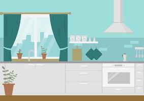 moderne gezellige keuken interieur, vlakke stijl, vector grafische ontwerpsjabloon