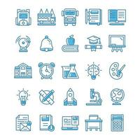 set van terug naar school pictogrammen met blauwe stijl. vector