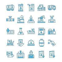 set van olie-industrie iconen met blauwe stijl. vector
