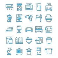 set van huishoudelijke pictogrammen met blauwe stijl. vector