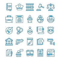 set van Justitie pictogrammen met blauwe stijl.