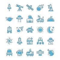 set van ruimtepictogrammen met blauwe stijl.
