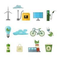 ecologie pictogrammen instellen. bespaar energie cartoon emblemen. ecobatterij, zonnepaneel, teslarol, windmolen, water besparen, groen recyclen, organische brandstof, fiets, lamp, tas vector