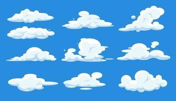 cartoon wolken set geïsoleerd op blauwe hemel. cloudscape in blauwe lucht, witte wolk. vector