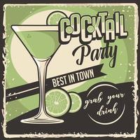 cocktail bewegwijzering poster retro rustieke klassieke vector