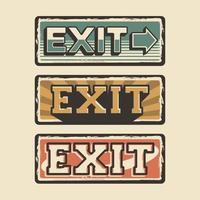 exit woord bewegwijzering poster retro rustieke klassieke vector