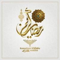 ramadan kareem wenskaart islamitische bloemmotief vector ontwerp met Arabische kalligrafie