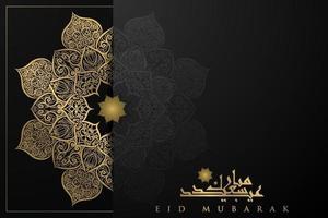 eid Mubarak groet achtergrond islamitisch patroon vector ontwerp met prachtige Arabische kalligrafie. vertaling van tekst gezegend festival