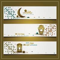drie eid Mubarak groet achtergrond islamitische bloemmotief vector ontwerp met prachtige lantaarns en Arabische kalligrafie