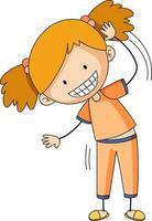 schattig meisje stripfiguur in de hand getrokken doodle stijl geïsoleerd