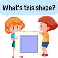 kinderen houden een vierkante banner met wat is dit lettertype