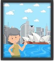 een foto van een oude vrouw die op reis is in Sydney vector