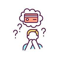 verloren of gestolen creditcard rgb-kleurpictogram vector
