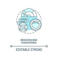 het verminderen van slechte cholesterol blauw concept pictogram