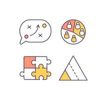 marketingstrategie RGB-kleurenpictogrammen instellen vector