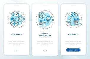 volwassenen ogen ziekten onboarding mobiele app-paginascherm met concepten vector