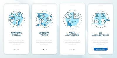 oogscreening voor kinderen die het scherm van de mobiele app-pagina met concepten onboarding vector