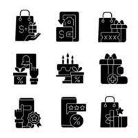 cashback en kostenreductie zwarte glyph-pictogrammen ingesteld op witte ruimte vector