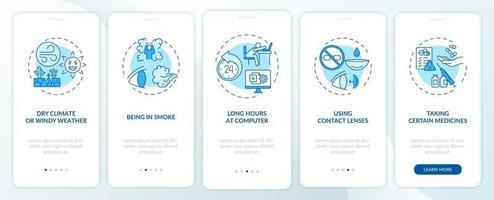 droge ogen veroorzaakt onboarding mobiele app-paginascherm met concepten vector