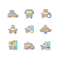 stadsvervoer rgb kleur iconen set