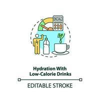 hydratatie met caloriearme dranken concept pictogram vector