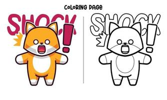 de gemberkat is in shock kleurplaat vector